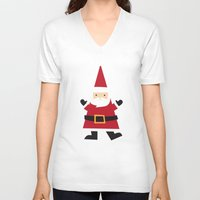 santa V-neck T-shirts featuring Santa by Claire Lordon