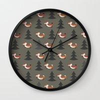 foxes Wall Clocks featuring Foxes by Maria Jose Da Luz