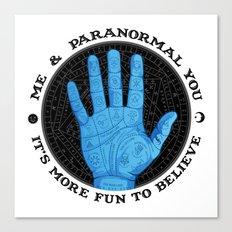 Me & Paranormal You - James Roper Design - Palmistry (black lettering) Canvas Print