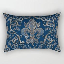 Fleur-de-lis ornament Blue Marble and Gold Rectangular Pillow