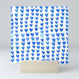 Brush stroke hearts - blue Mini Art Print