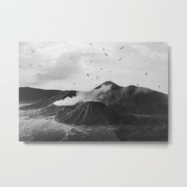 Birds Over Mount Bromo, Indonesia Black and White Metal Print