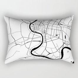 Bangkok Thailand Minimal Street Map - Black and White Rectangular Pillow