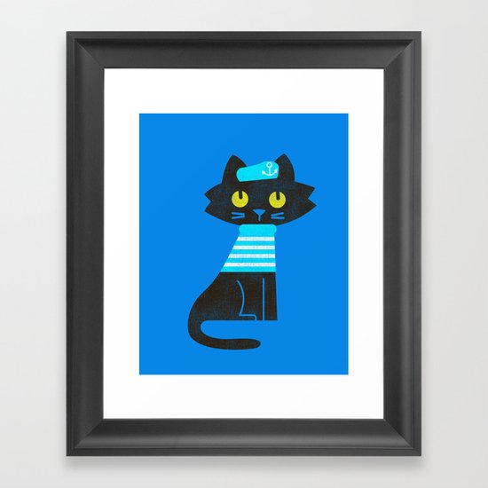 Fitz - Sailor cat Framed Art Print