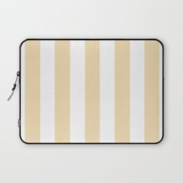 Wheat pink - solid color - white vertical lines pattern Laptop Sleeve