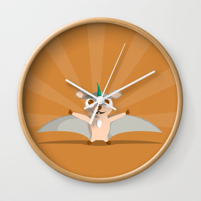 The Dino-zoo: Flying squirrel-saurus Wall Clock