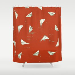 Christmas Red Airplane Mode Shower Curtain