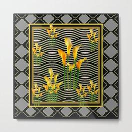 Golden Calla Lilies Black-Grey Harlequin Art Metal Print