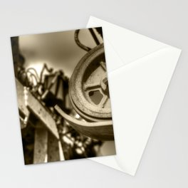 Combine Cog Machine Detail Abstract Sepia Stationery Cards
