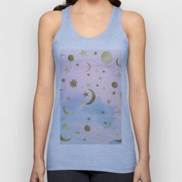 Pastel Starry Sky Moon Dream #1 #decor #art #society6 Unisex Tank Top