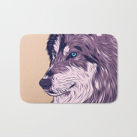 Blue eyed wolf Bath Mat