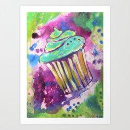Mixed Media Green Cupcake Art Print