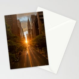 ManhattanHenge - sun setting along 42nd Street Stationery Cards