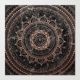 Mandala - rose gold and black marble Canvas Print