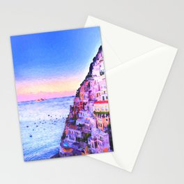 Twilight Over Positano, Italy Stationery Cards