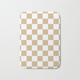 Checkered - White and Tan Brown Bath Mat