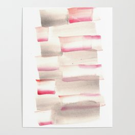 [170105] 4 Color Study Pink Brown|Watercolor Brush Stroke Poster
