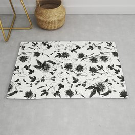 Black and White Passion Flowers Pattern Rug
