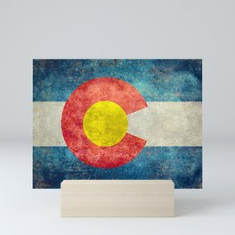 Colorado State flag, Vintage retro style Mini Art Print