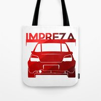 subaru Tote Bags featuring Subaru Impreza - classic red - by Vehicle