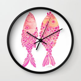 Indonesian Fish Duo – Pink Palette Wall Clock