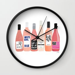 Rose Wine Bottles Wall Clock
