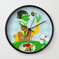 vegetarian Wall Clocks featuring Vegetarian parody by Bakal Evgeny