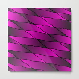Slanting repetitive lines and rhombuses on iridescent pink with intersection of glare. Metal Print
