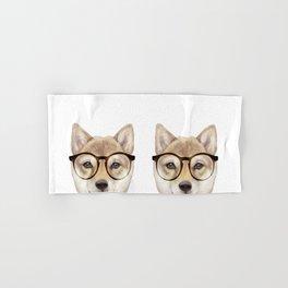 Shiba inu with glasses Dog illustration original painting print Hand & Bath Towel