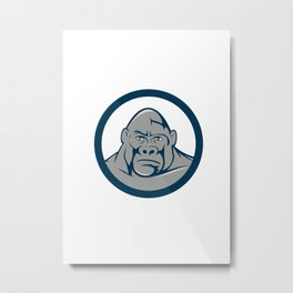 Angry Gorilla Head Circle Cartoon Metal Print