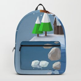 Geometric, low poly winter landscape Backpack