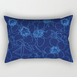 Australian Waxflower Line Floral in Blue Rectangular Pillow