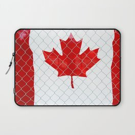 Rustic Canada Flag behind Chain Link Fence Laptop Sleeve