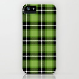 Greenery green color themed plaid SCOTTISH TARTAN Checkered Fabric Pattern background. iPhone Case