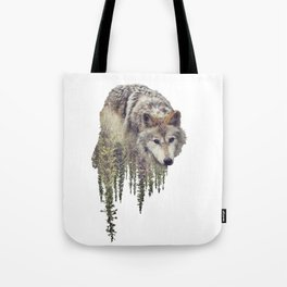 Double exposure of wolf and pine forest on white background Tote Bag