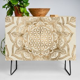 Flower of Life in Lotus - pastel golds and canvas Credenza