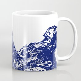 Indigo Wave water ocean abstract painting blue and white nautical trendy gender neutral dorm  Coffee Mug