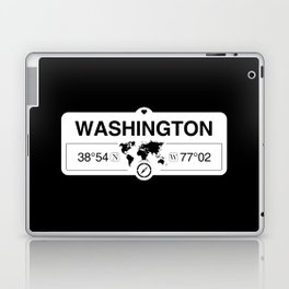 Washington District of Columbia Map GPS Coordinates Laptop & iPad Skin