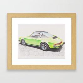 Porsche 911 Targa in Lime Green by Glens Graphix Framed Art Print