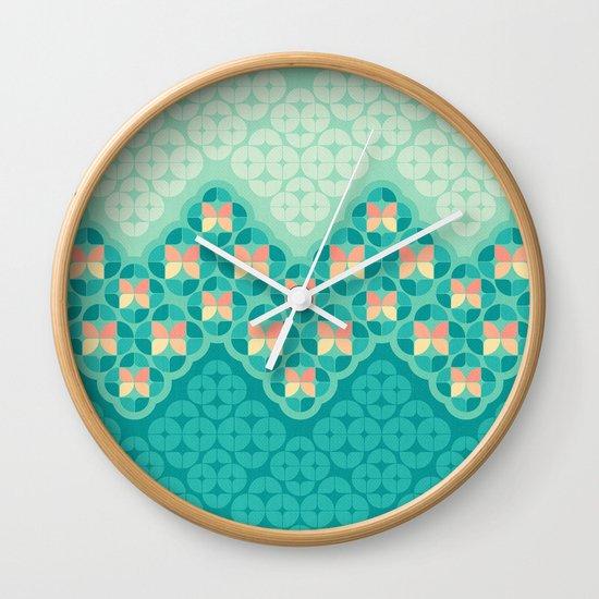 Blue Garden Pattern Wall Clock
