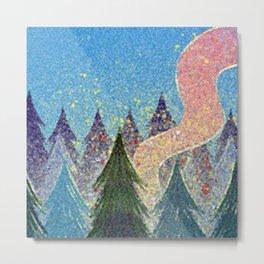 Pixel Forest Fire Metal Print
