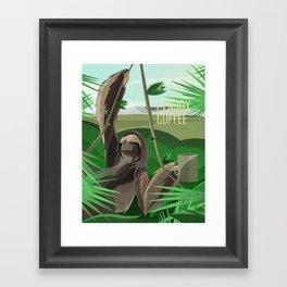 SLOTH ENJOYS COFFEE Framed Art Print