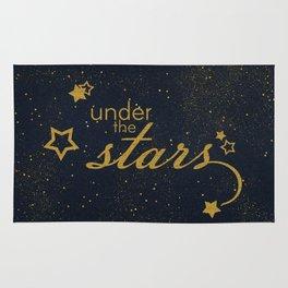 Under the stars- sparkling gold glitter night typography on #Society6 Rug