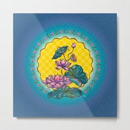 Peranakan Lotus Metal Print