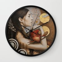 moulin rouge Wall Clocks featuring Rouge by Sophie Wilkins