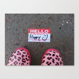 Hello, My Name Is Happy Canvas Print
