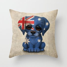 Cute Puppy Dog with flag of Australia Throw Pillow