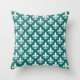 Fleur-de-Lis Pattern: Dark Green Throw Pillow