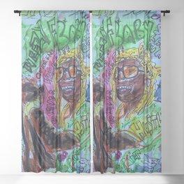wayn,small,poster,drawing,painting,singer,rapper,rap,wall art,fan art,cool,dope,original,graffiti Sheer Curtain