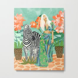 Never Change Your Stripes Illustration, Modern Bohemian Zebra Painting Wildlife Woman Metal Print